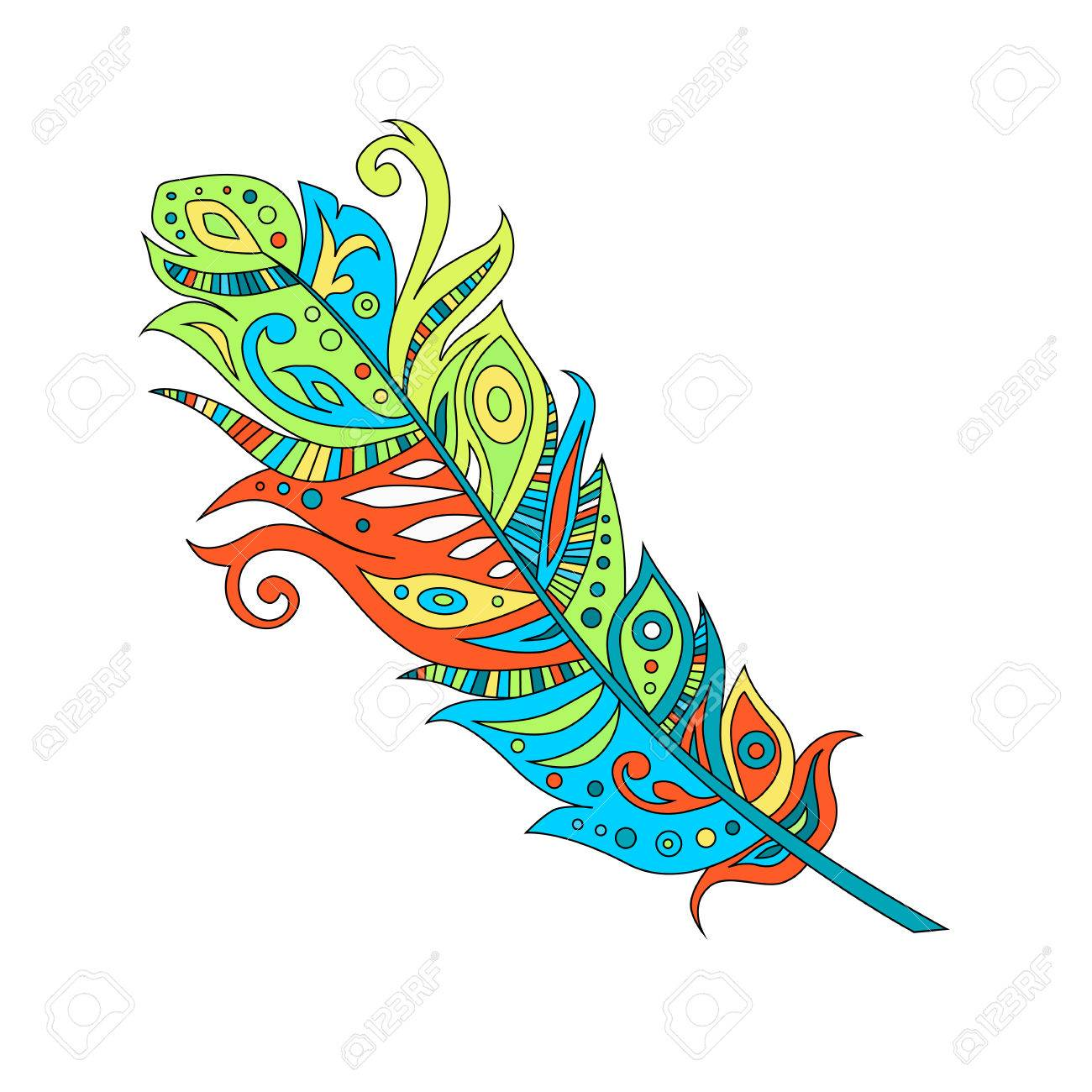 beautiful bohemian boho birds feather, vector illustration.