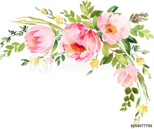 Bohemian watercolor floral wreath. Wedding decoration.