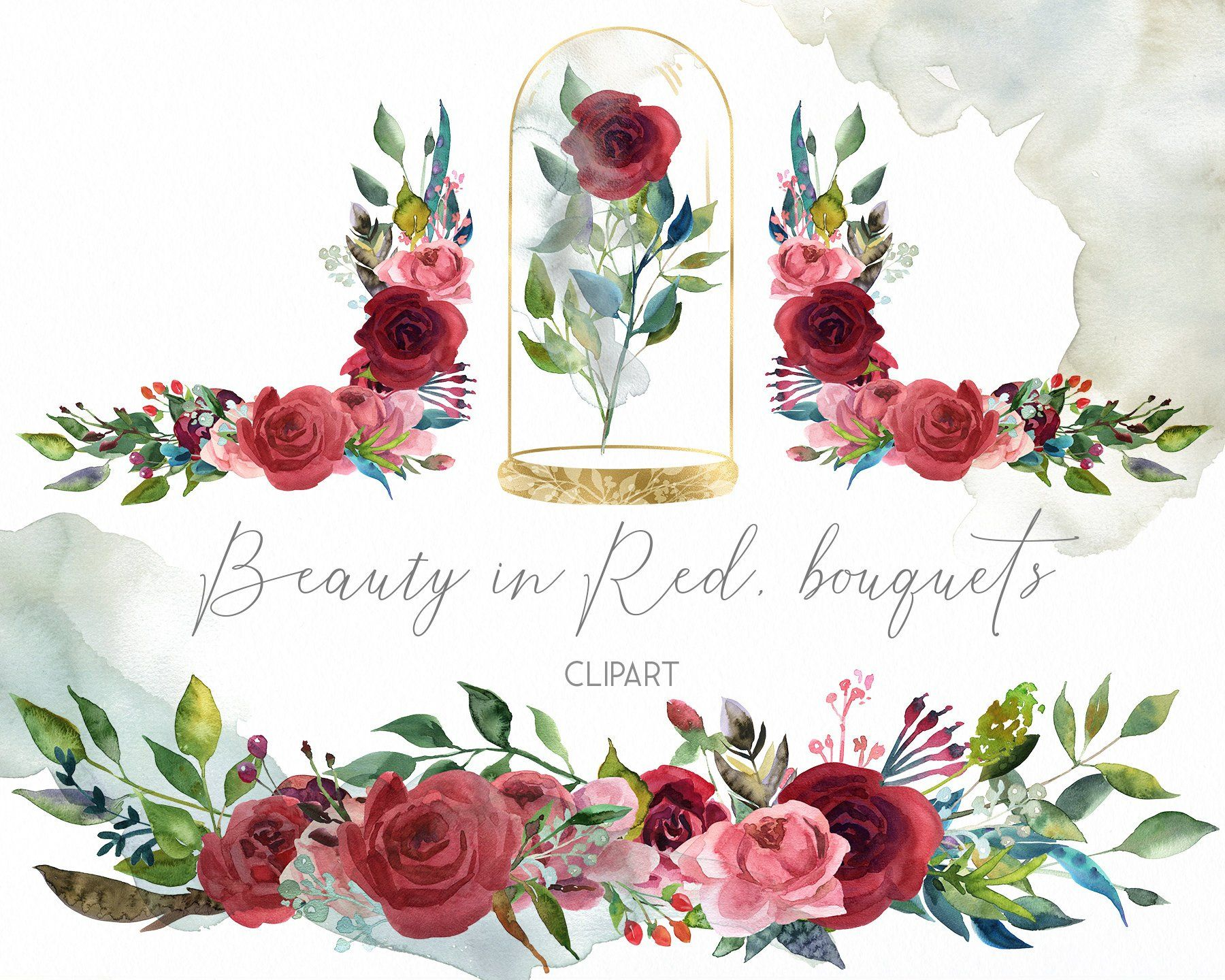 Watercolor red roses wedding composition clipart, marsala.