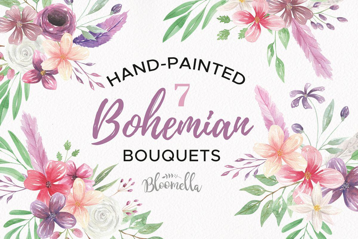 Watercolor Bohemian Clipart Bouquets Flowers Pink Purple Summer Florals.