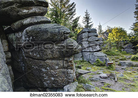 "Stock Photo of ""Rocks at the summit of Baerenstein Mountain."