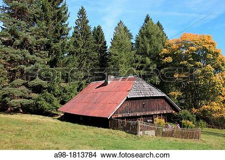 Stock Photo of traditional old farmhouse at the village Srni.