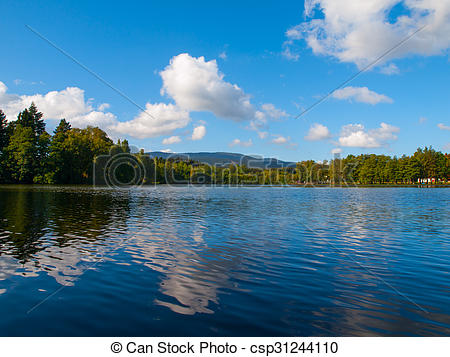 Stock Photography of Babylon Pond and Cerchov Mountain in Bohemian.