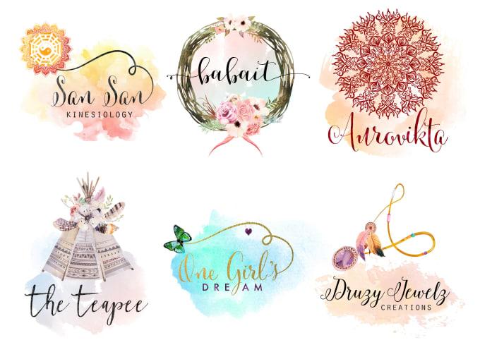 design a bohemian style watercolor logo.
