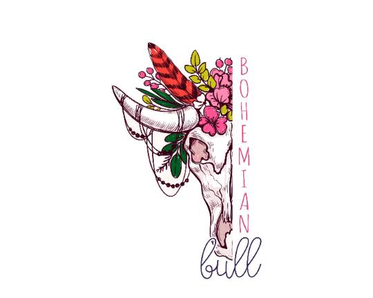 Bohemian Bull Logo Design Premade, Colorful Boho Logo.