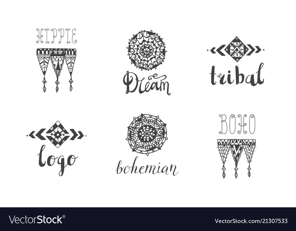 Set of hand drawn tribal boho style logos.