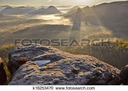 Stock Photography of sunrise from Kleiner Winterberg, Bohemian.