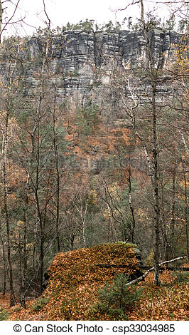 Pictures of Autumn forest at Bohemian Switzerland csp33034985.