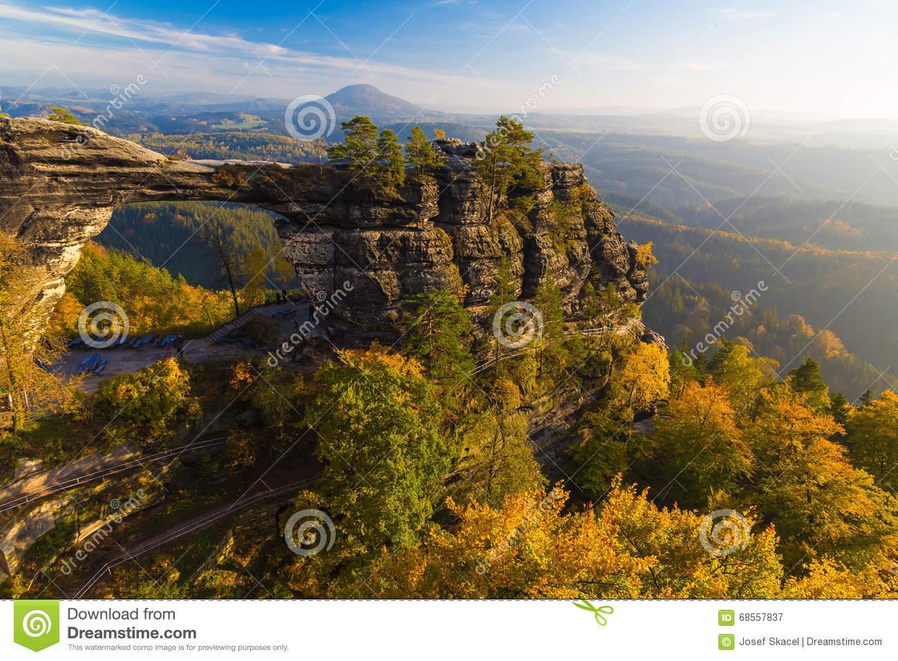 Pravcicka Gate In Autumn Colors, Bohemian Saxon Switzerland, Czech.