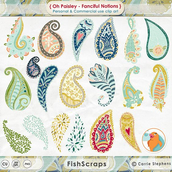 Colourful Paisley Clip Art.