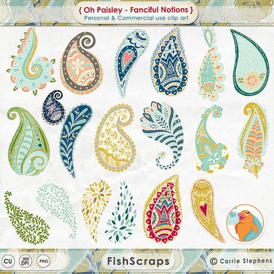 Colourful Paisley Clip Art.