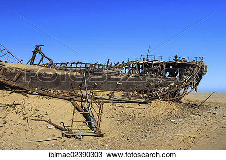 "Stock Photo of ""Eduard Bohlen Shipwreck, Namib Desert, Namib."