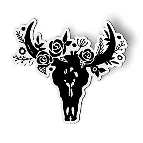 Amazon.com: AK Wall Art Bull Skull with Flowers Boho.