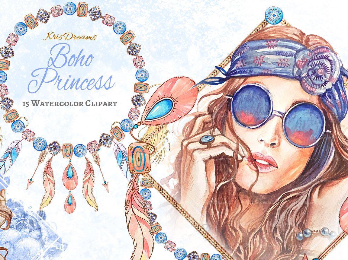 Boho Style Fashion Clip Art Watercolor Clip Art Dreamcatcher.