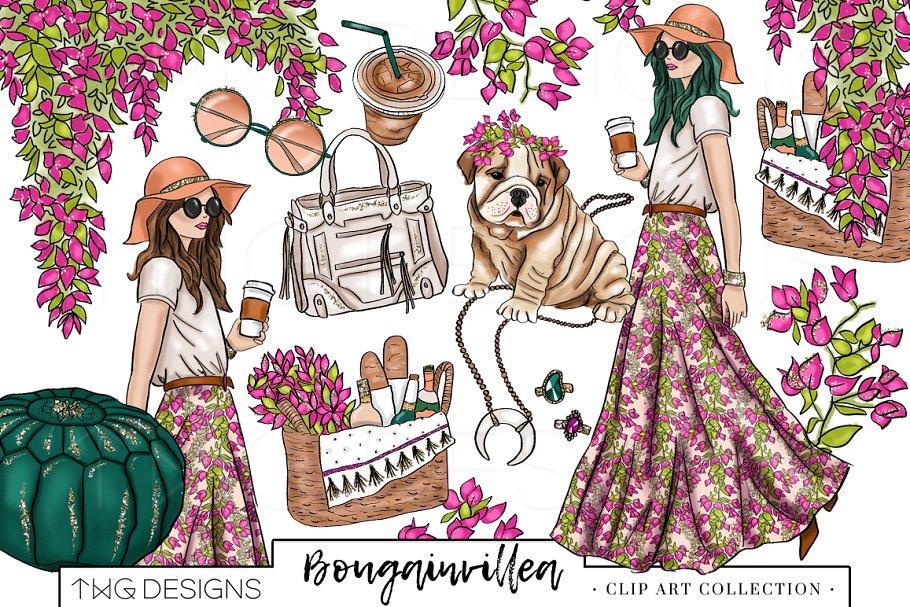 Fashion Girl Boho Chic Clip Art.