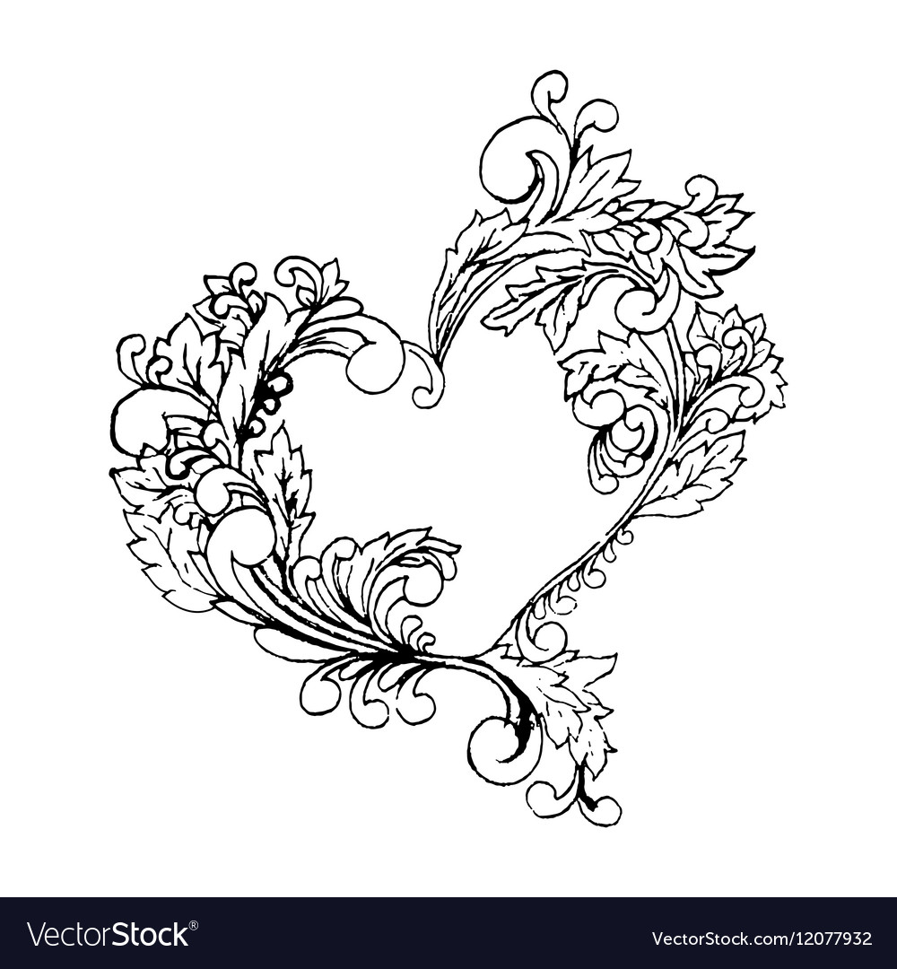 Boho style black line art original heart frame.