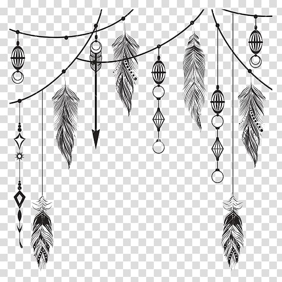 Black and brown feather hanging decoration illustration.