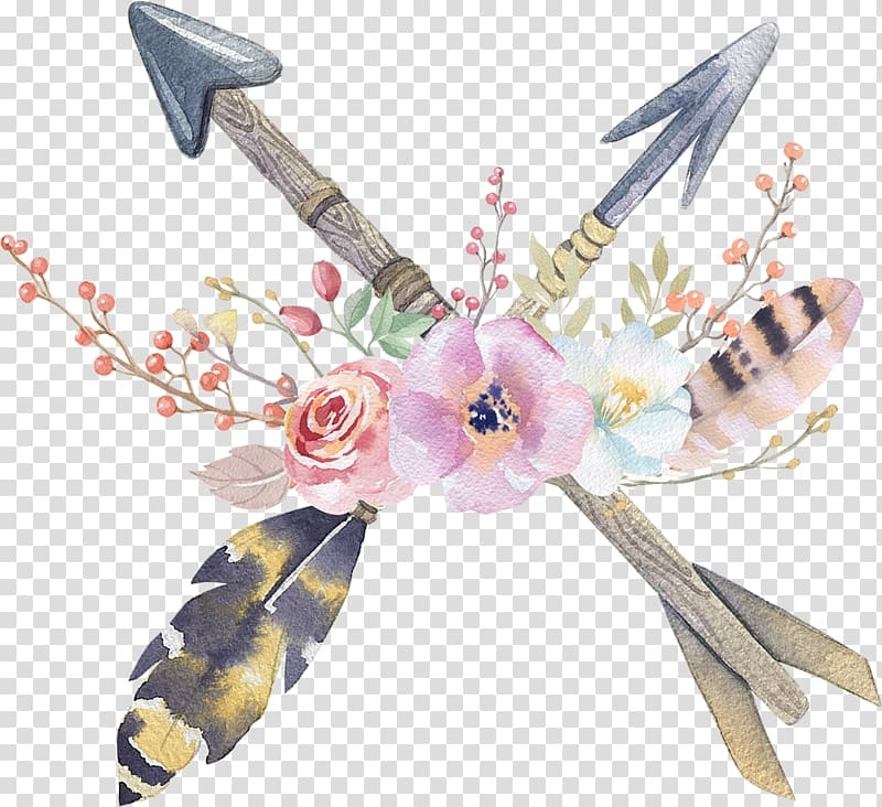 Multicolored arrow with flowers illustration, Wedding.