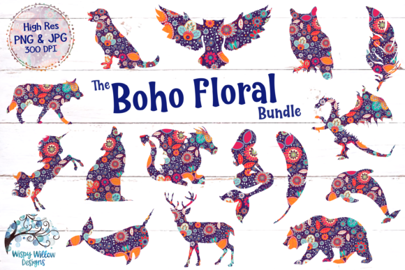 Boho Flower Clipart Bundle, Sublimation.