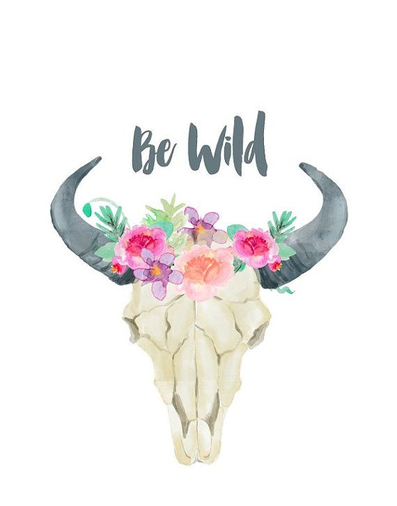 Be Wild, Cow Skull, Printable Art, Bull skull, Tribal Art.
