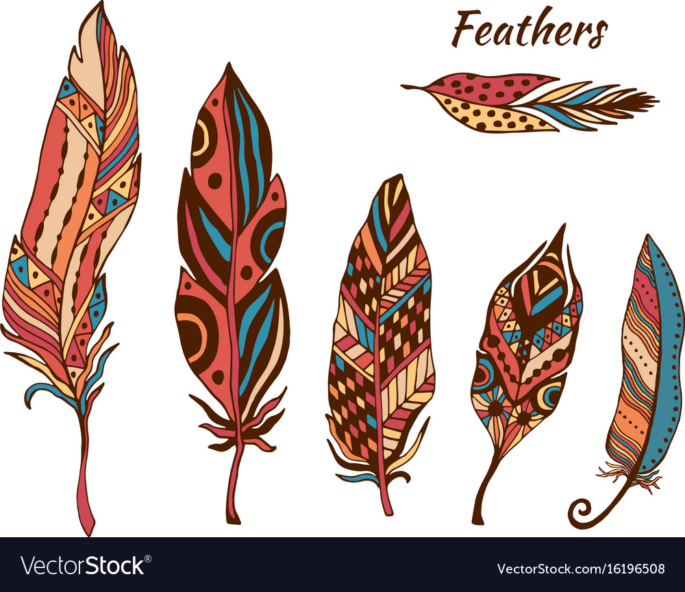 Hand drawn boho feathers collection set of doodle.