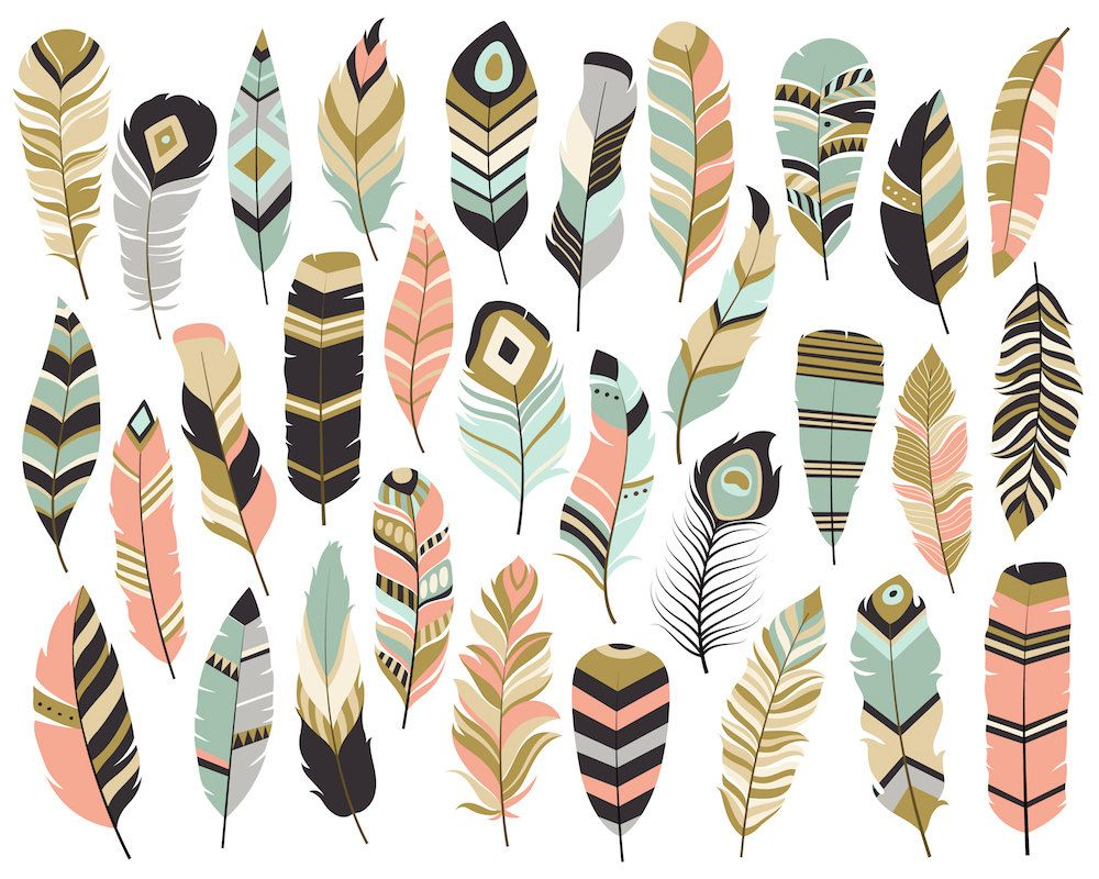 Tribal Feathers Clipart.