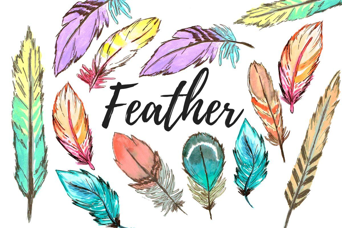 Watercolor Boho Feather clipart By Writelovely.