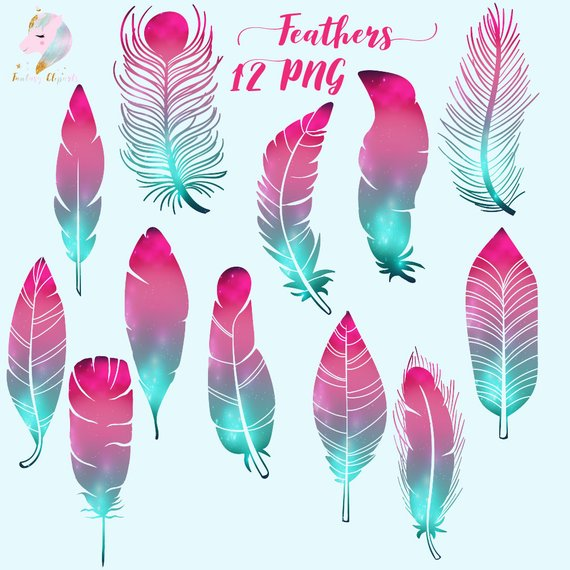 Galaxy feathers, feather clipart, cosmic feathers, feathers.