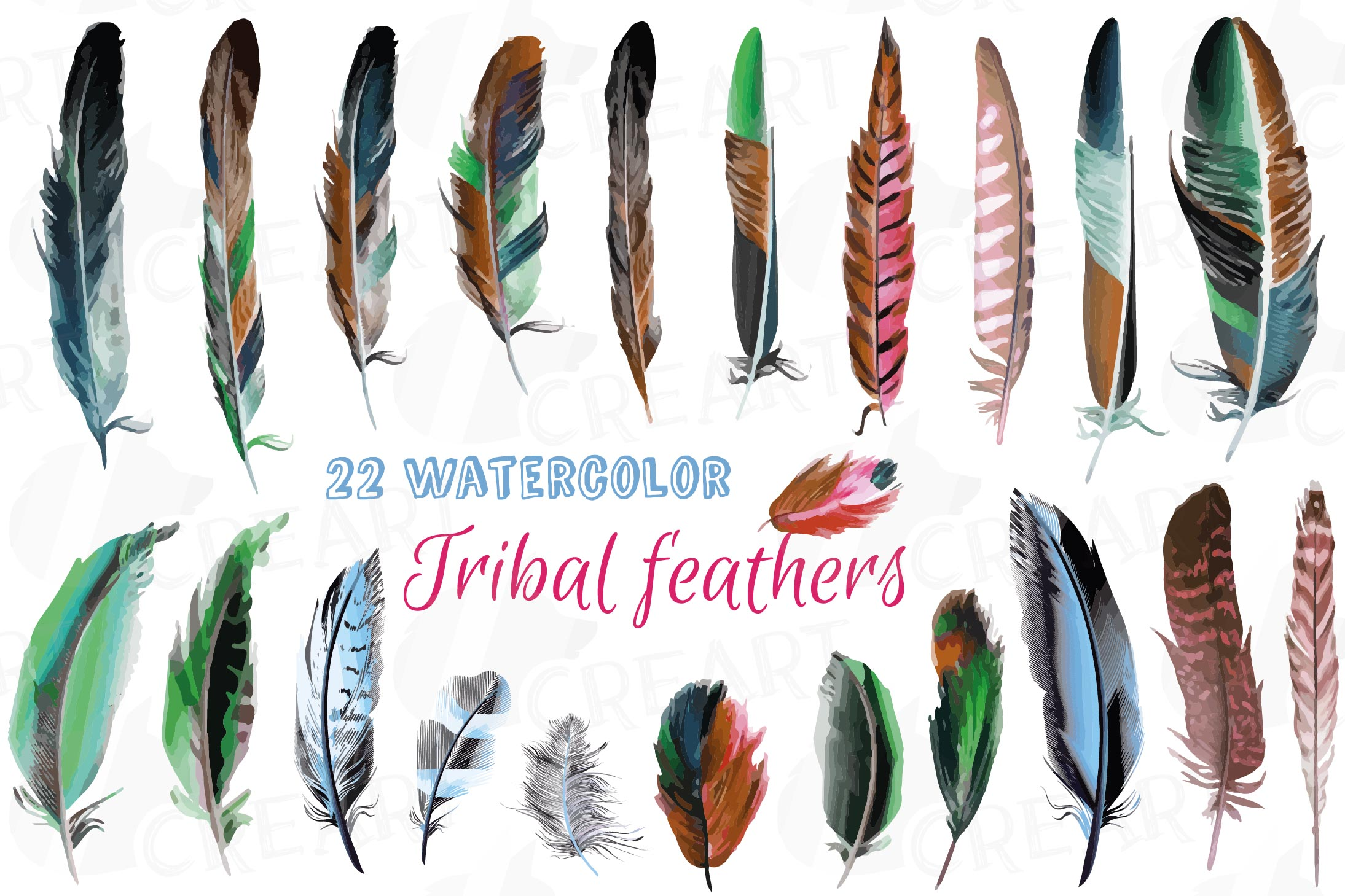 Watercolor tribal feathers clip art, colorful Boho feathers.