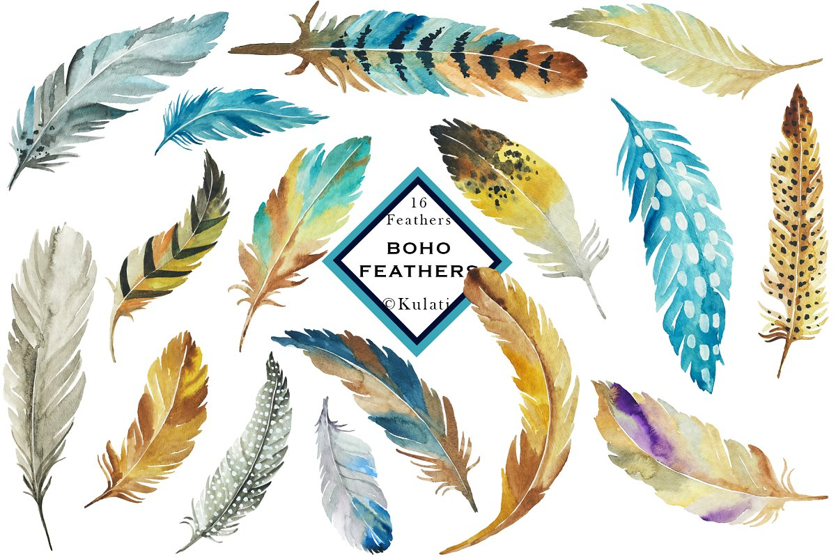 Brown and Blue Feather Clip Art.