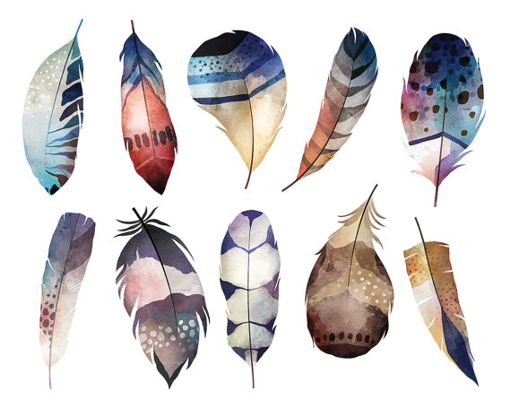 Watercolor Boho Feathers Clipart.