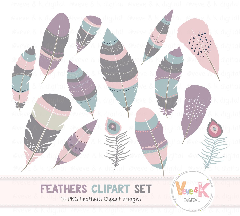 Boho Feathers Clipart, Digital Feathers, Aztec Feathers, Boho Feathers,  Tribal Feathers Clipart, Commercial Use, Feathers Images, Boho.