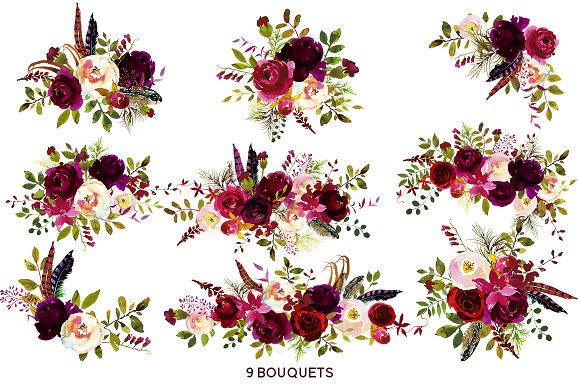 Boho Bordo Watercolor Flowers.