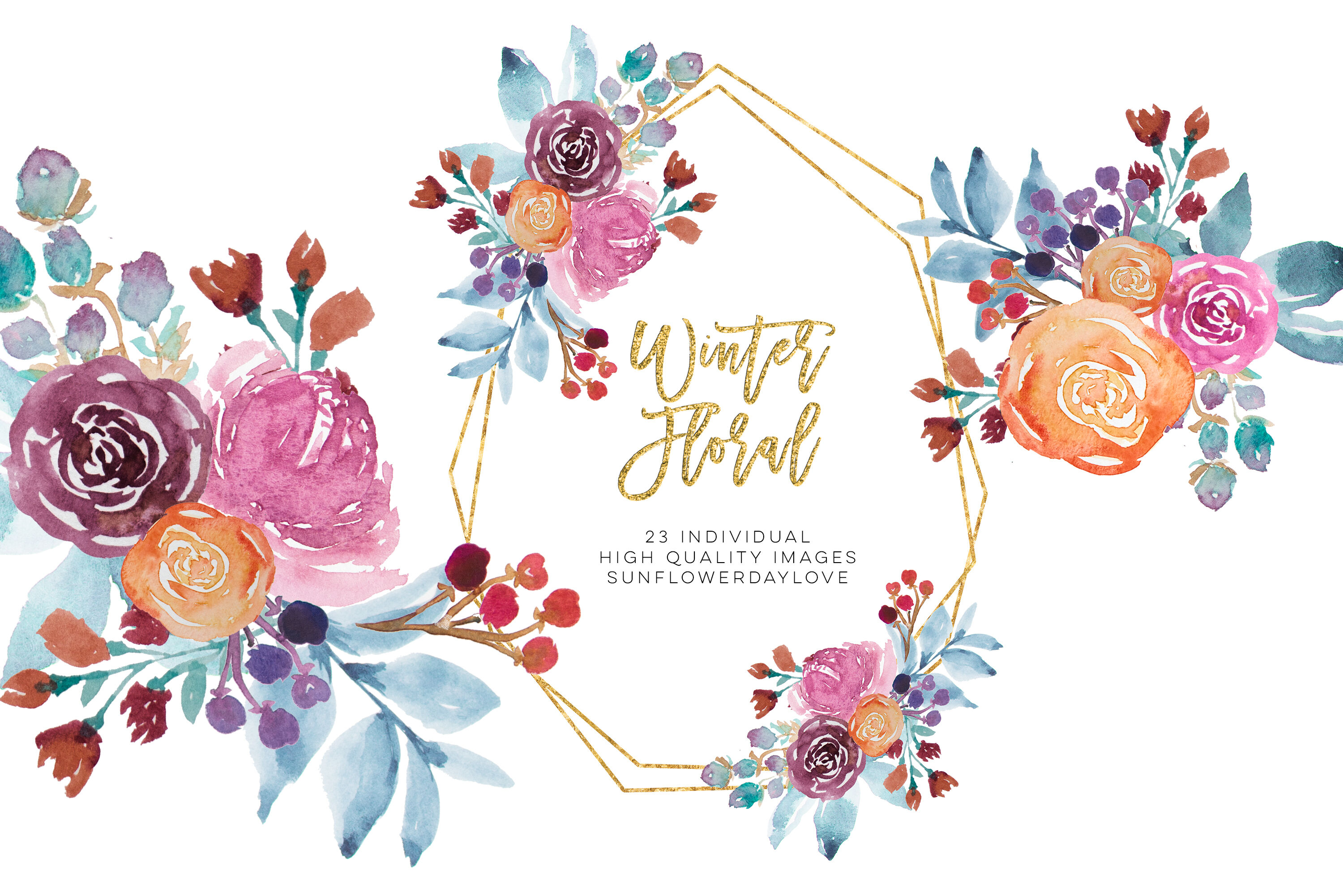 Winter Watercolor Flowers Clipart, Winter Floral Clipart.
