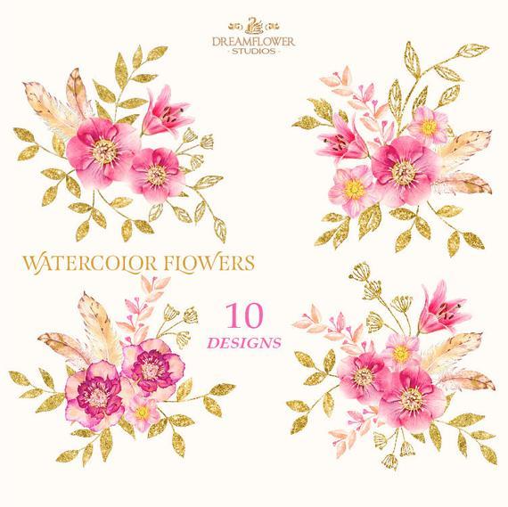 Boho Watercolor Flower, Boho Flowers Clipart, Blush.
