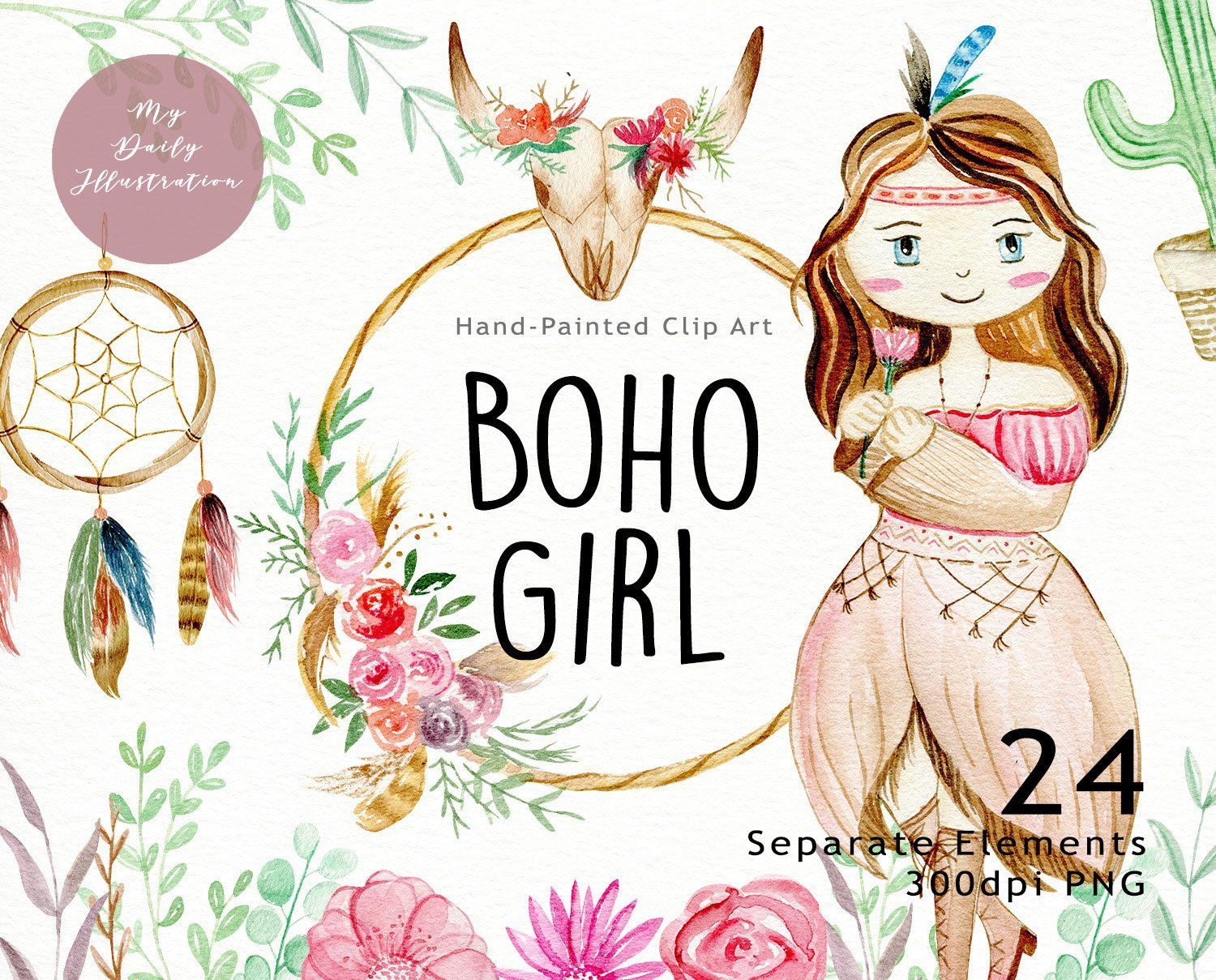 Watercolor boho girl clipart set for t.