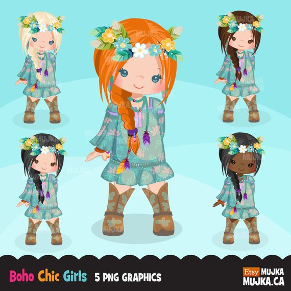 Bohemian Girl clipart, boho chic characters, card making.