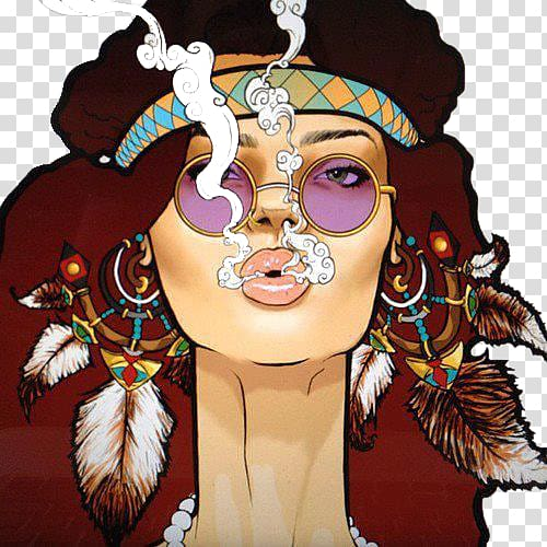 Painting of a woman, Hippie Drawing Cartoon Boho.