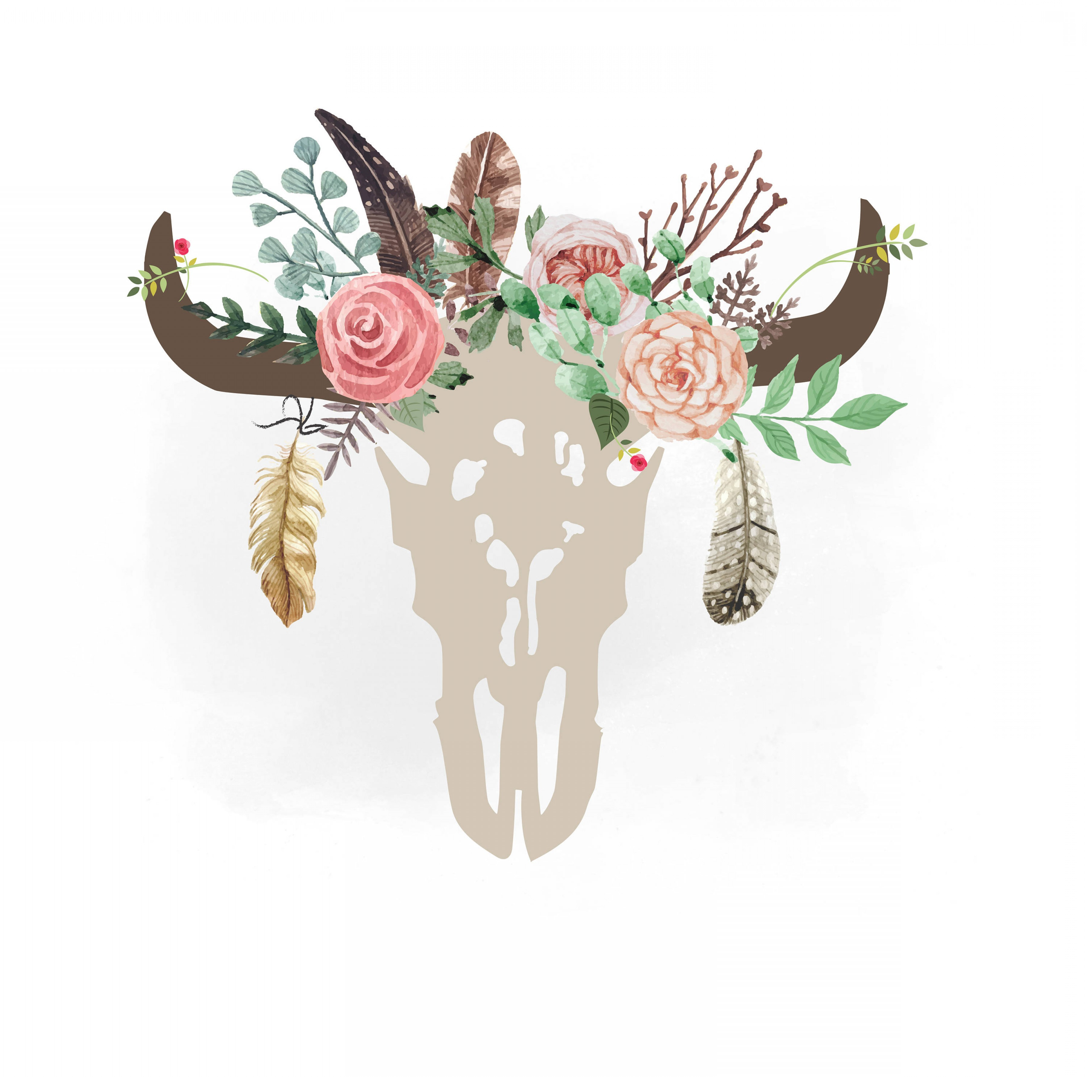 Gypsy Cow Skull Svg Clipart Boho Floral.