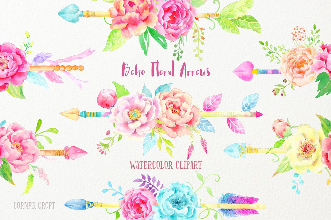 Watercolor clipart boho floral arrows, pink, yellow and purple peony arrows  for instant download, wedding invitations.