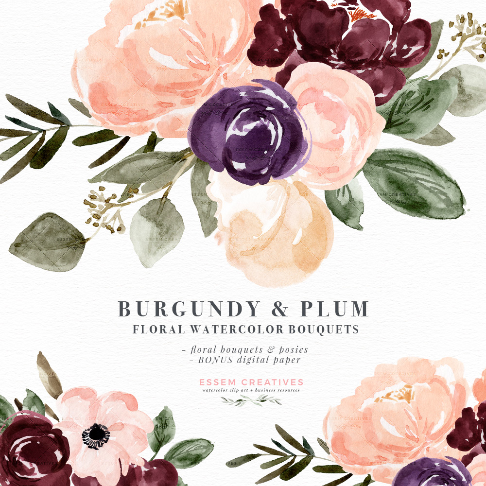 Burgundy Plum Floral Watercolor Clipart, Blush Burgundy Watercolor Flowers,  Rustic Boho Fall Wedding Invitation.