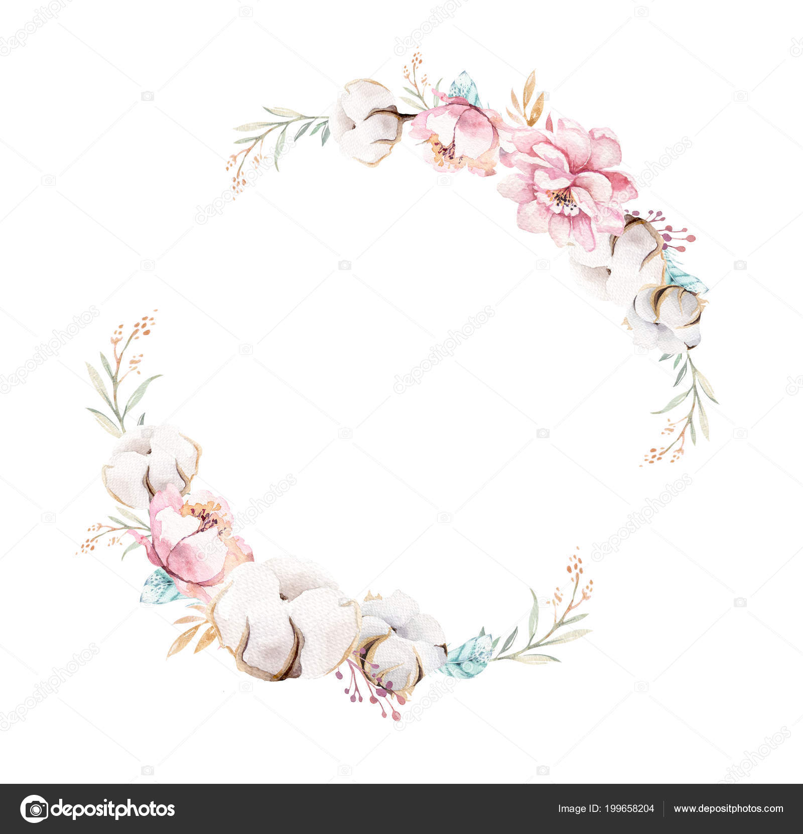 Clipart: boho wreath.
