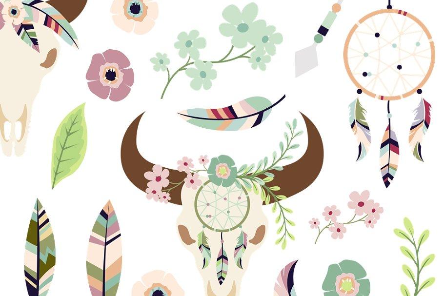 Bohemian & Ethnic Clipart Set ~ Illustrations ~ Creative Market.