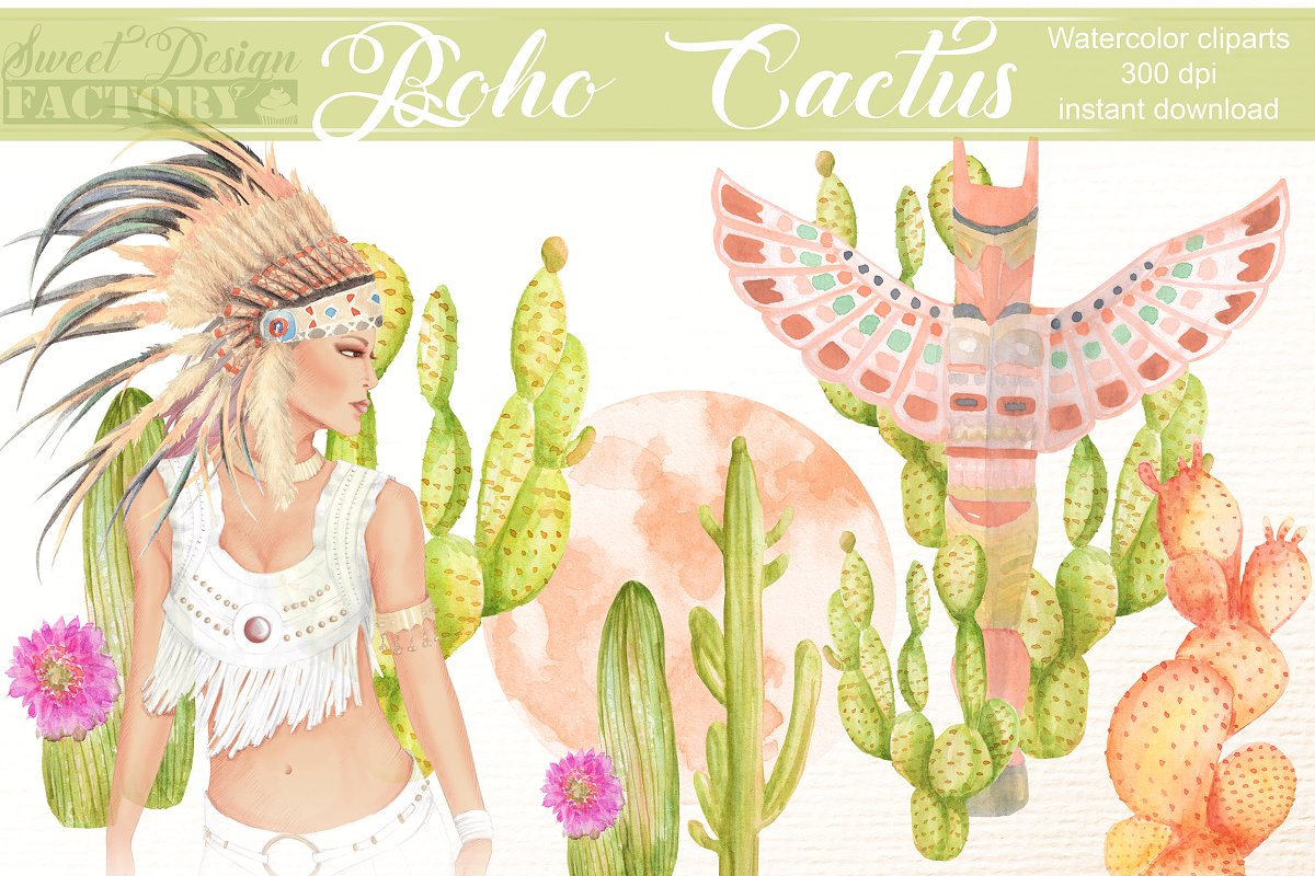Boho & cactus cliparts.