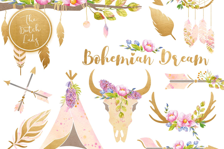 Bohemian Dream Clipart Set.