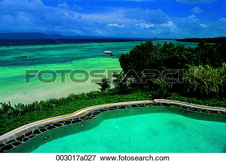 Picture of Philippines, Bohol Island, sea, landscape, pool, resort.