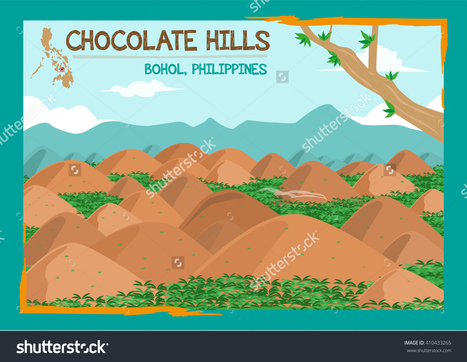 Chocolate Hills Formation Located Bohol Philippines Stock Vector.