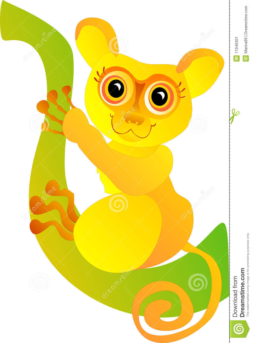 Funny Tarsier. Vector Illustration Stock Image.