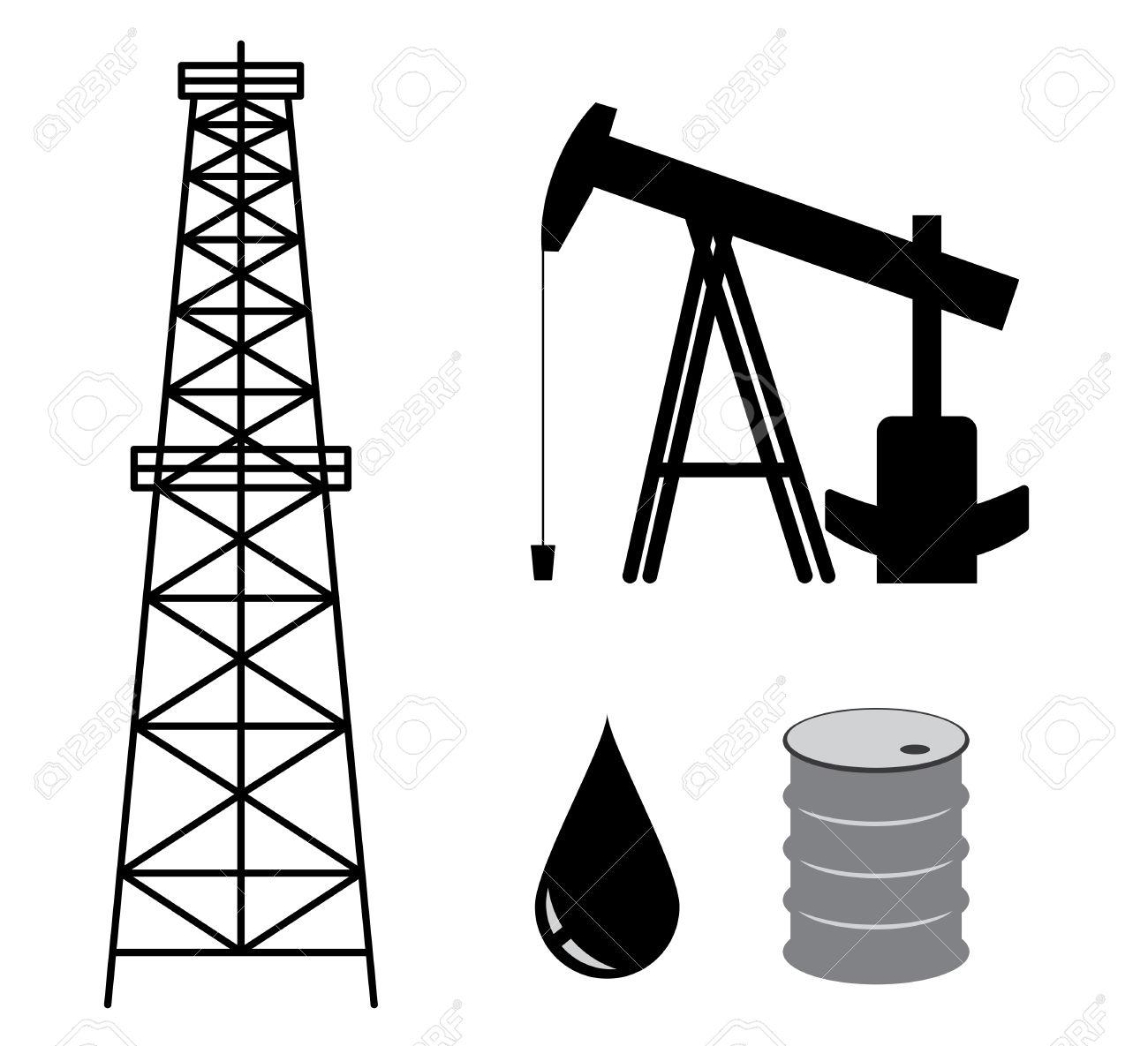 Oil Derrick With Pump And Barrel.