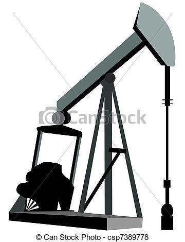 Stock Illustration of Oil Derrick Clip Art or Logo, Oil and Gas.
